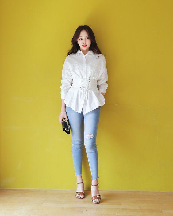 กางเกงยีนส์สีซีด